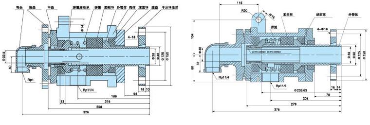 内管旋转式双锥干燥机旋转接头内部结构图